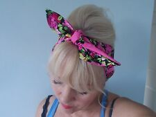 HEAD BAND HAIR SCARF ROSES cerese PINK BLACK  ROCKABILLY 1950 1940 FLORAL NEW
