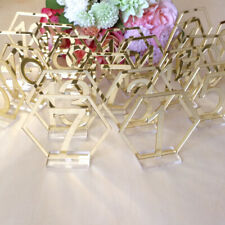 1-20 Signs Hexagon Table Numbers with Base for Wedding Party Decor Acrylic