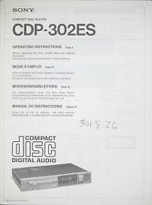 SONY CDP-302ES Original CD Compact Disc Player Bedienungsanleitung/User Manual
