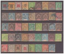 French Colonies 'Peace & Commerce' x 44 used stamps.