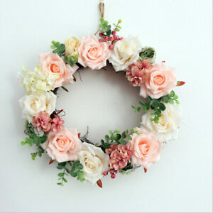 37cm Artificial Rose Flower Door Wreath Wall Hanging Spring Floral Home Decor