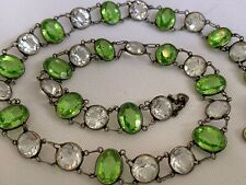 Vintage Antique Art Deco Peridot Green Crystal Paste Glass Open Back Necklace