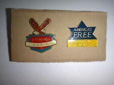 2 US Military Lapel Pins: POW/MIA KOREA + AMERICA'S FREE THANKS TO OUR VETERANS