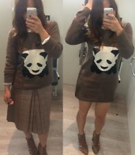 Womens Long Woolen Panda printed Knitted Outerwear Jumper Sweater Brown UK 6-10
