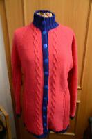 Schöne Damenstrickjacke Handgestrickt Stahlblau / Pink etwas ganz tolles