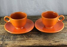 """2 Early fiesta Cup & Saucer in """"Red"""" Red-orange Lowercase f!!"""