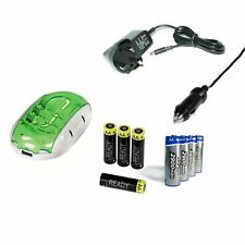 Smart Charger+ 8x AA 2100mAh 2900mAh NiMh Rechargeable Batteries + Car Charger