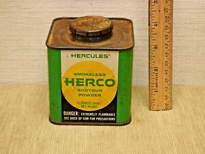 Vintage Advertising Powder Tin Can HERCULES SMOKELESS SHOTGUN POWDER  empty
