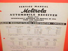 1941 FORD MERCURY SUPER DELUXE SPECIAL CONVERTIBLE MOTOROLA RADIO SERVICE MANUAL