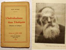ANARCHIE/HAN RYNER/L INDIVIDUALISME DS L'ANTIQUITE/ED DE L IDEE LIBRE/1924/EO