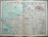 Original 1897 Map of The Northern Part of France by The Century Company. Antique