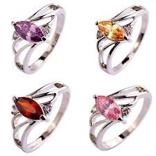 Marquise Cut Amethyst Morganite Garnet Pink Topaz Gemstone Silver Ring Size 6-10