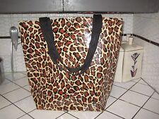 VTG Style Leopard Rockabilly Oilcloth Tote Purse Book BAG Gym Yoga Beach Market
