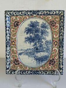 Rare Antique DE PORCELEYNE FLES Royal Dutch Delft Faience Scenic Tile PLAQUE