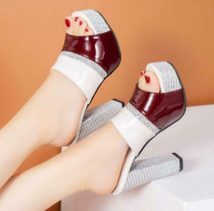 1Pc Womens Slippers Casual Heel Slip On Patent Leather Fashion Sandals Us9