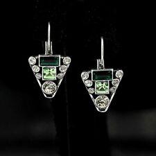 ohrringe`Ohren Schläfer Silber Dreieck grün art deco Retro Ehe YW7