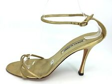 e1c3ccd69c7 MANOLO BLAHNIK gold leather delicate cross strap high heel sandals Size 41