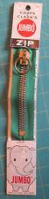 "Vtg Jumbo Metal Brass Zipper Ring Pull Green 5"" Coats & Clark NIP Instructions"