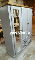 HANDMADE AYLESBURY NEXT (GREY+DARK OAK) TRIPLE WARDROBE (MIRRORED) NO FLAT-PACK
