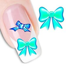 Nail Art Sticker Water Decals Transfer Black & Coloured Bows (DX1264)