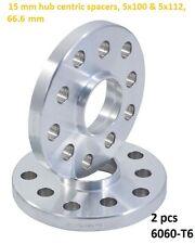 Wheel Slip On Spacers 15 mm 5x100 & 5x112 66.6 mm Hub Centric 6061-T6 2 PCS