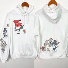 Tom And Jerry Men's M Sweatshirt Hoodie White Cat Dog Spike Back Graphic