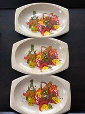 3 Vtg Mcm Snack Plate Wine Cheese Fruit Picnic Scene Burlap Print Plastic Oval