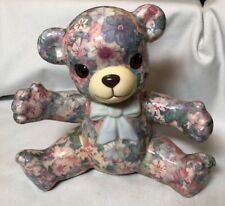 Lovely Large Global Studio Pottery Blue Floral Decoupage Teddy Bear