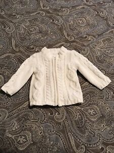Baby Gap Baby Girl White Cable Knit Cotton Cardigan Sweater Size 3-6 Months