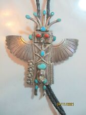 Kachina Bolo Tie By Jvb Navajo Sterling Silver Turquoise & Coral