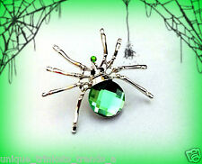 GREEN SPIDER PIN BROOCH~WOMENS GOTHIC HALLOWEEN COSTUME ACCESSORY WITCH ZOMBIE