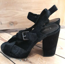NEXT Black Embossed Velvet Chunky High Heel Sandals Size UK 7 (EU 41) NEW RP £35