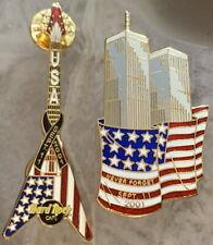 Hard Rock Cafe 9/11 God Bless America GUITAR PIN + 911 Bonus Twin Towers PIN