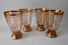 SET OF 4 X 1950s VINTAGE RETRO PINK WITH GOLD DECORATION DRINKING GLASSES
