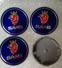 4pcs SET 63mm Wheel Center Caps Hub Saab Logo Emblem Badge