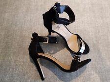 Atmosphere size 6 (39) black faux suede ankle strap stiletto heels sandals