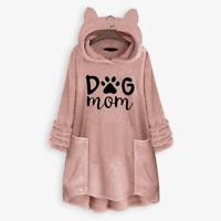 DOG MOM FLEECE OVERSIZE HOODIE WITH FLAPPY EARS