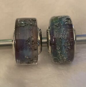 Pair Of Ohm  Beads Very Sought After Fairy Wren. Beautiful Rainbow To These.