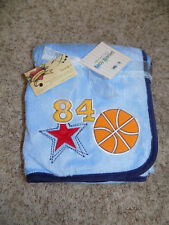 BABY BLANKET LAMBS IVY BASKETBALL STAR  # 84 CHENILLE SPORTS EMBROIDERY BLUE NEW