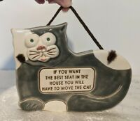 "Vtg 1994 Smoky Mountain Pottery Cat Plaque Sign ""If you want the best seat..."""