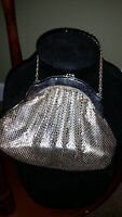 WHITING AND DAVIS VINTAGE SILVER TONE MESH BAG WITH CHAIN HANDLE