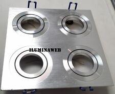Empotrable cuadruple GU10 Cuadrado Aluminio Pulido Natural y Aro Redondo Cromado