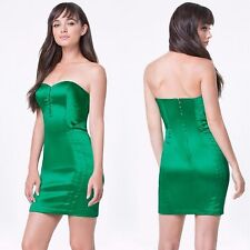BEBE GREEN MADISON SATIN HOOKEYE DRESS NEW NWT $139 SMALL S