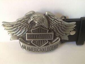 """Harley Davidson Belt Buckle & Belt (All Sizes 30"""" – 50"""") American Legend Silver"""