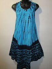 Dress Fits 1X 2X 3X Plus Blue Black Tie Dye Batik Tunic Top A Shaped NWT 2602