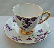 Vintage Royal Standard Bone China Tea cup & Saucer Hand Painted Violets England