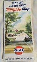 1965 Gulf Oil New York & New Jersey Vintage Road Map Transportation Travel