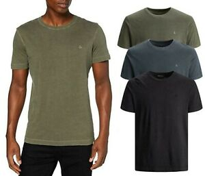 Jack & Jones Mens T-Shirt Crew Neck Casual New Summer Washed Tee 100% Cotton Top