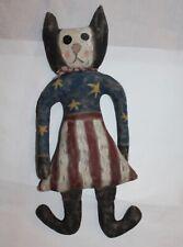 Estate Vintage Reproduction Folk-Art Cat Doll with Flag Dress