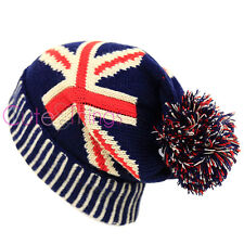 UK Flag Beanie Hat England Union Jack Kintted Stretchable Cap